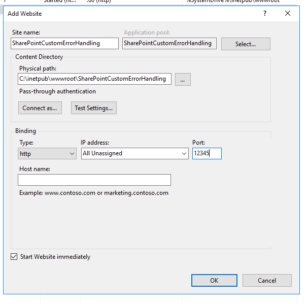 Adding a new site in IIS