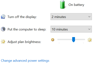 Change Advanced Power Settings