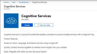 Create Cognitive Services