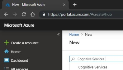 New Resource Cognitive Services
